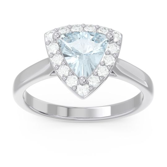 Halo Trillion Dvipa Aquamarine Ring with Diamond in 14k White Gold