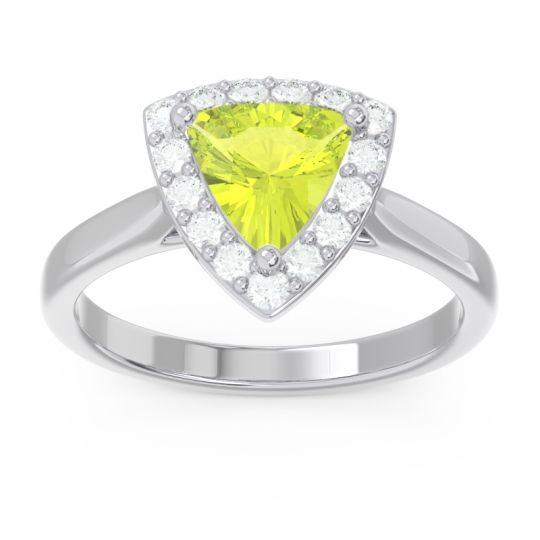 Halo Trillion Dvipa Peridot Ring with Diamond in 14k White Gold