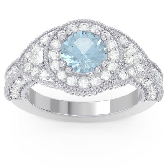 Ornate Halo Three Stone Harmya Aquamarine Ring with Diamond in 14k White Gold
