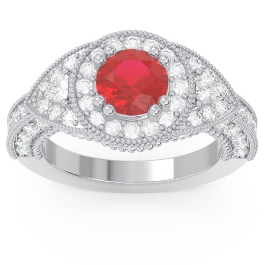 Ornate Halo Three Stone Harmya Ruby Ring with Diamond in 14k White Gold