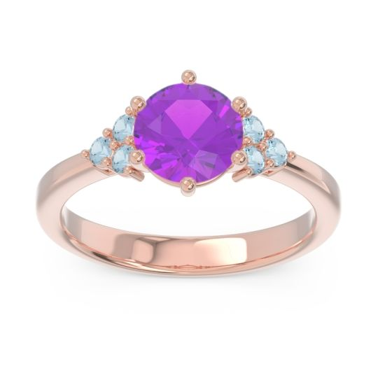 Classic Pave Girijala Amethyst Ring with Aquamarine in 18K Rose Gold