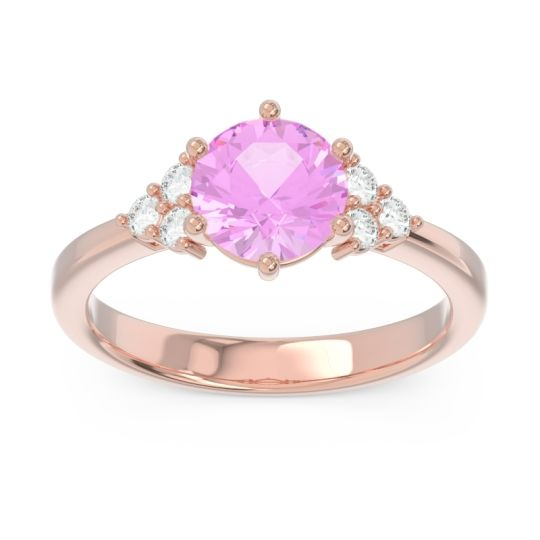 Classic Pave Girijala Pink Tourmaline Ring with Diamond in 14K Rose Gold