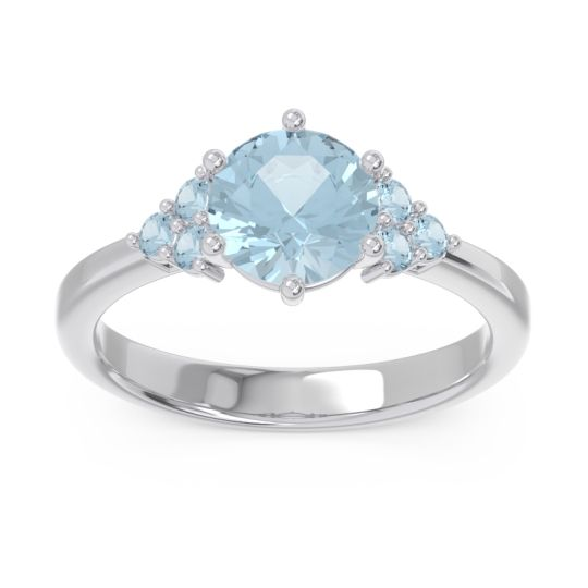 Classic Pave Girijala Aquamarine Ring in 14k White Gold