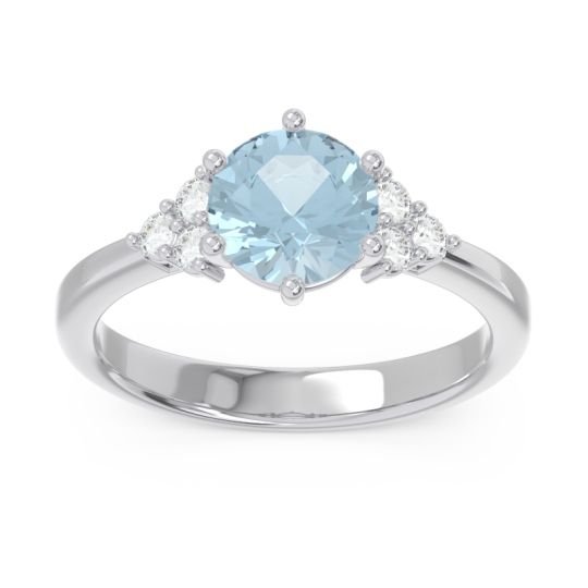 Classic Pave Girijala Aquamarine Ring with Diamond in 14k White Gold