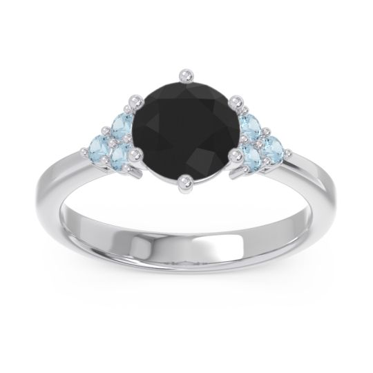 Classic Pave Girijala Black Onyx Ring with Aquamarine in 14k White Gold