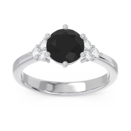 Classic Pave Girijala Black Onyx Ring with Diamond in 14k White Gold