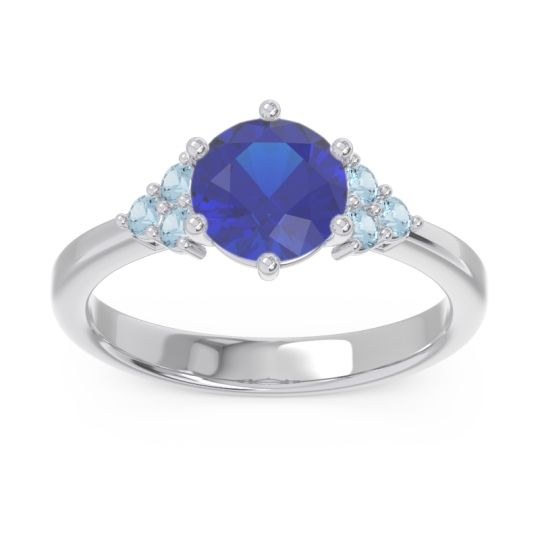 Classic Pave Girijala Blue Sapphire Ring with Aquamarine in 14k White Gold
