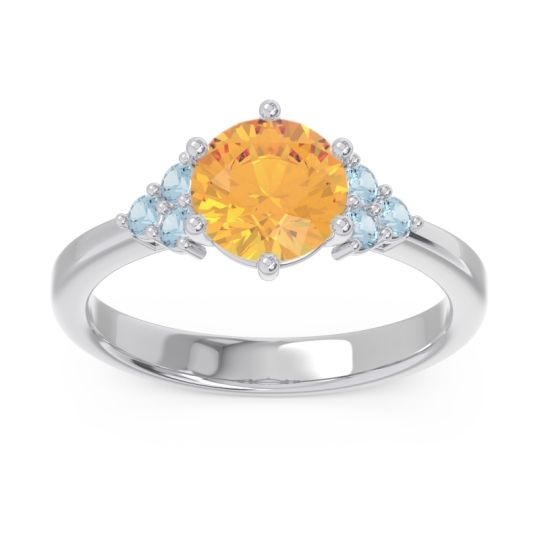 Classic Pave Girijala Citrine Ring with Aquamarine in 14k White Gold