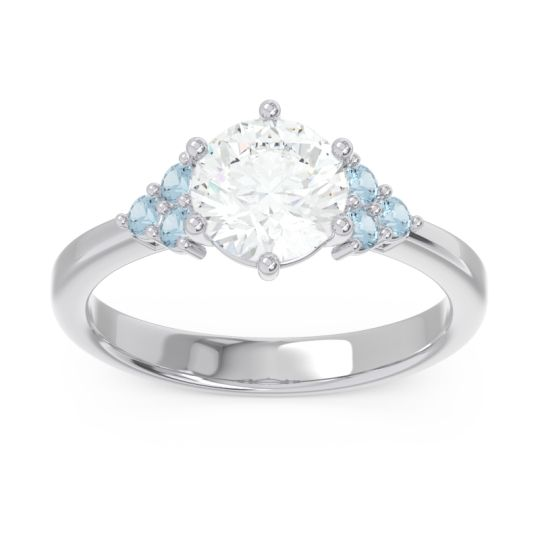 Classic Pave Girijala Diamond Ring with Aquamarine in 14k White Gold
