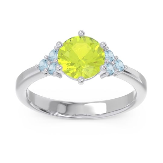 Classic Pave Girijala Peridot Ring with Aquamarine in 14k White Gold
