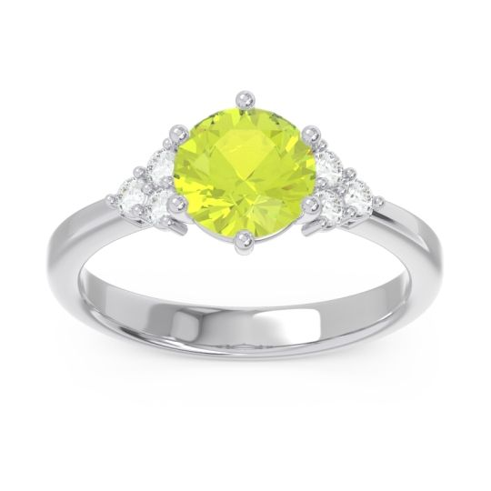 Classic Pave Girijala Peridot Ring with Diamond in 14k White Gold