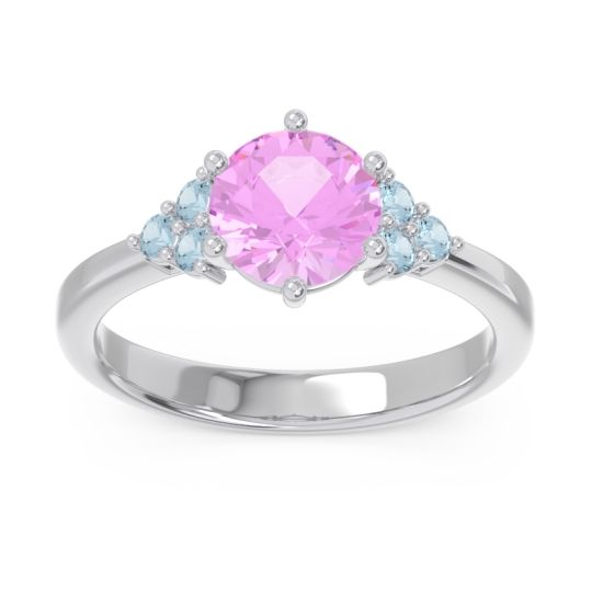 Classic Pave Girijala Pink Tourmaline Ring with Aquamarine in 14k White Gold