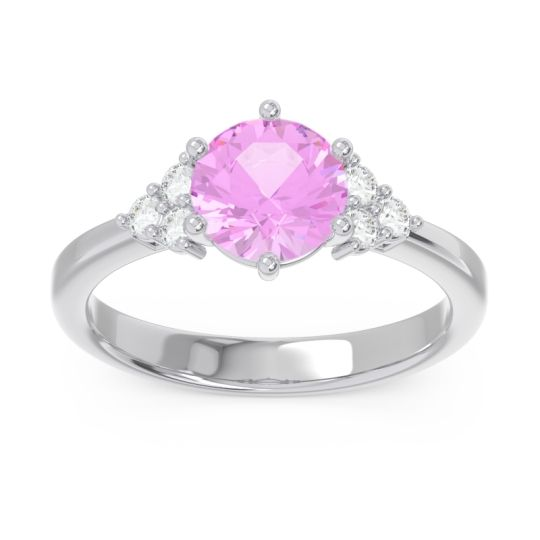 Classic Pave Girijala Pink Tourmaline Ring with Diamond in Palladium
