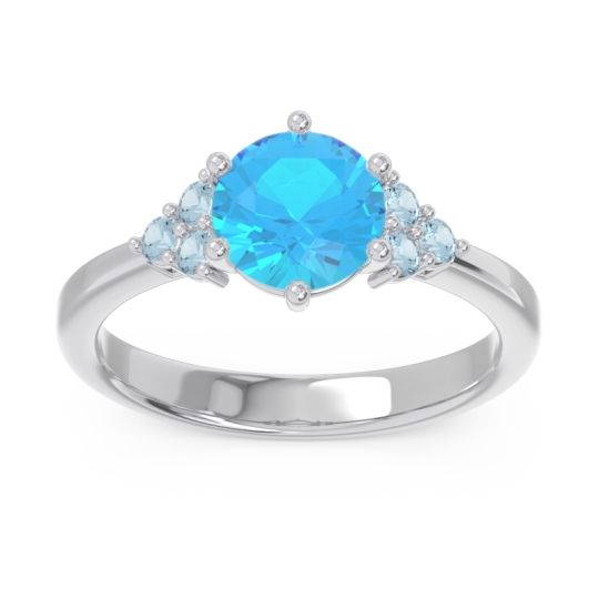 Classic Pave Girijala Swiss Blue Topaz Ring with Aquamarine in 14k White Gold