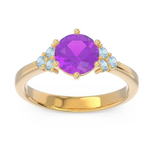 Classic Pave Girijala Amethyst Ring with Aquamarine in 14k Yellow Gold