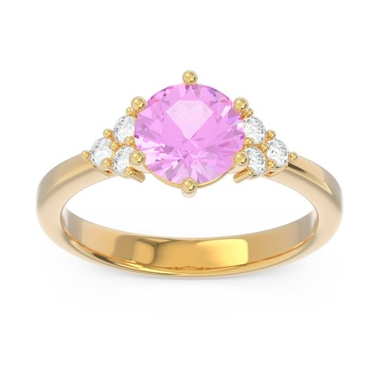Classic Pave Girijala Pink Tourmaline Ring with Diamond in 14k Yellow Gold