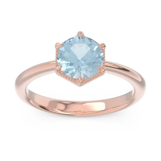 Solitaire Milgrain Kulira Aquamarine Ring in 14K Rose Gold
