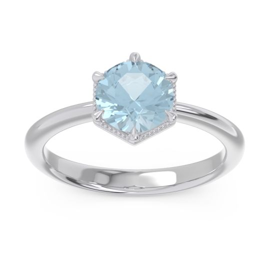 Solitaire Milgrain Kulira Aquamarine Ring in 14k White Gold