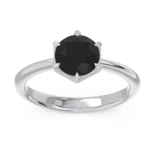 Solitaire Milgrain Kulira Black Onyx Ring in 14k White Gold