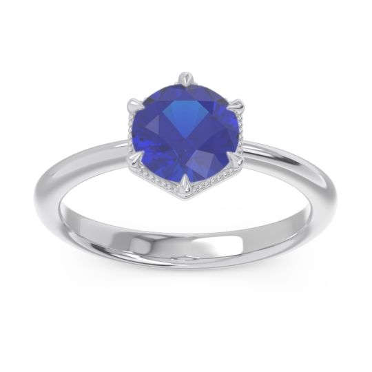 Solitaire Milgrain Kulira Blue Sapphire Ring in 14k White Gold
