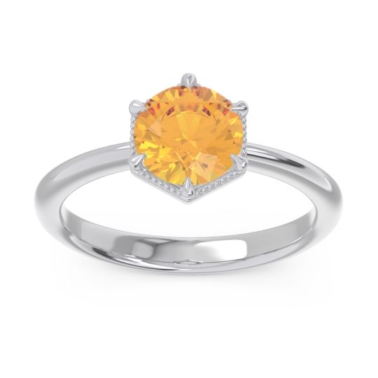 Solitaire Milgrain Kulira Citrine Ring in 14k White Gold