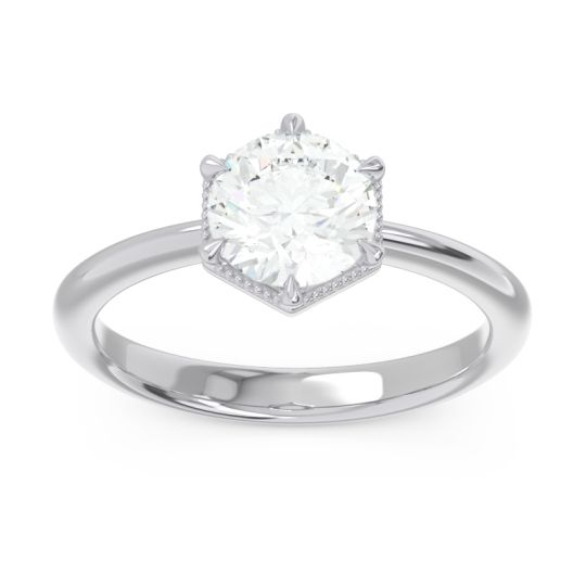 Solitaire Milgrain Kulira Diamond Ring in 14k White Gold