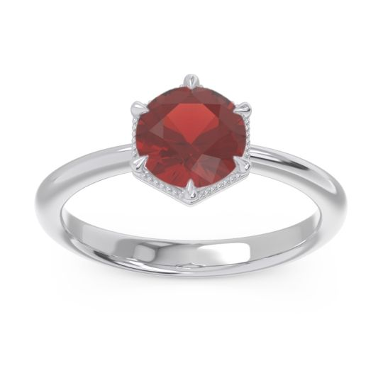 Solitaire Milgrain Kulira Garnet Ring in 14k White Gold