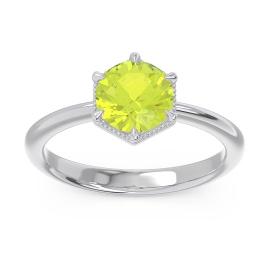 Solitaire Milgrain Kulira Peridot Ring in 14k White Gold