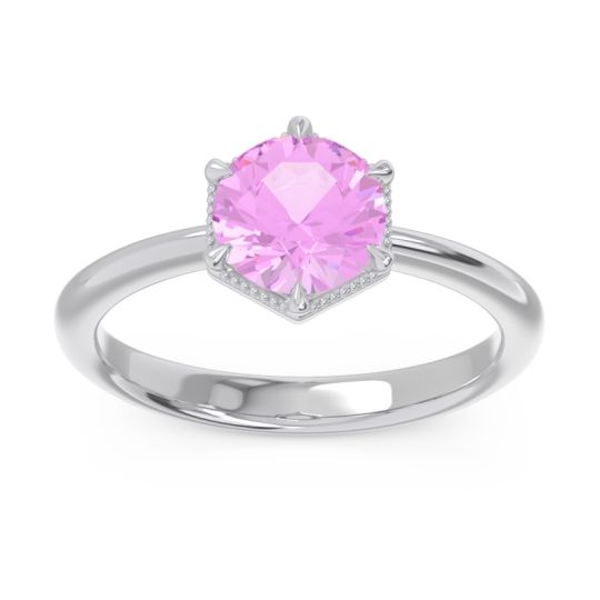 Solitaire Milgrain Kulira Pink Tourmaline Ring in 14k White Gold