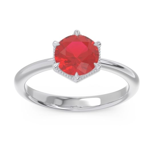 Solitaire Milgrain Kulira Ruby Ring in 14k White Gold