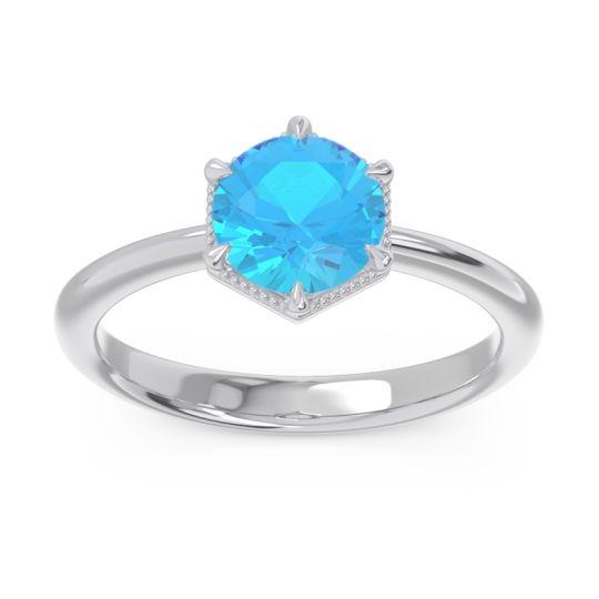 Solitaire Milgrain Kulira Swiss Blue Topaz Ring in 14k White Gold