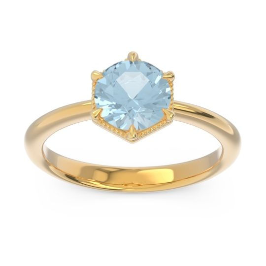 Solitaire Milgrain Kulira Aquamarine Ring in 14k Yellow Gold