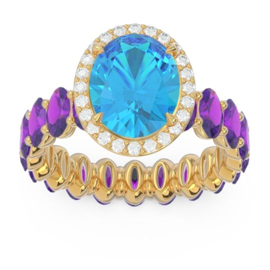 Ornate Halo Oval Rajakula Swiss Blue Topaz Ring with Diamond and Amethyst in 14k Yellow Gold