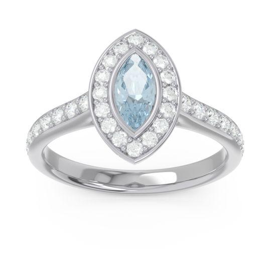Halo Pave Marquise Pravahana Aquamarine Ring with Diamond in 14k White Gold