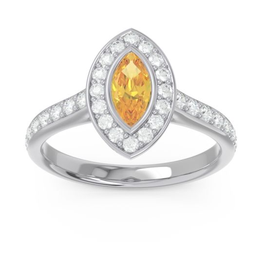 Halo Pave Marquise Pravahana Citrine Ring with Diamond in 14k White Gold