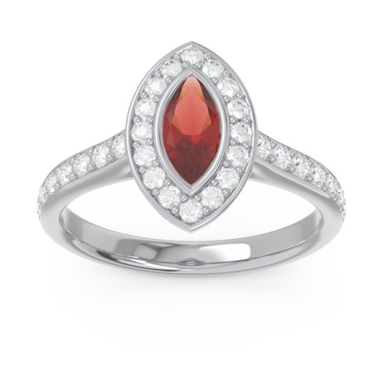 Halo Pave Marquise Pravahana Garnet Ring with Diamond in 14k White Gold