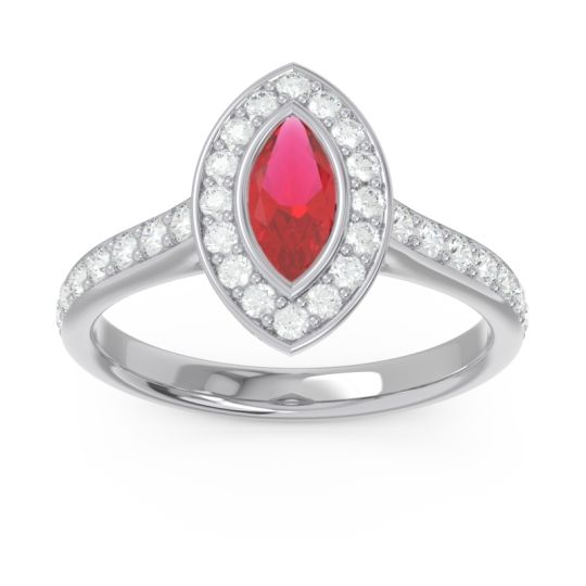 Halo Pave Marquise Pravahana Ruby Ring with Diamond in 14k White Gold