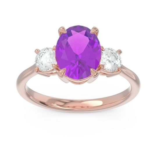 Three Stone Oval Matr Amethyst Ring with Diamond in 18K Rose Gold