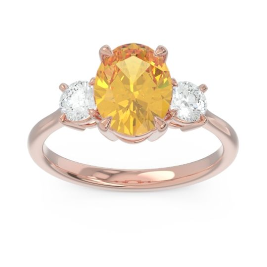 Three Stone Oval Matr Citrine Ring with Diamond in 14K Rose Gold
