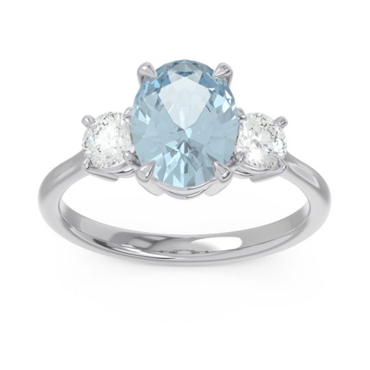 Three Stone Oval Matr Aquamarine Ring with Diamond in 18k White Gold