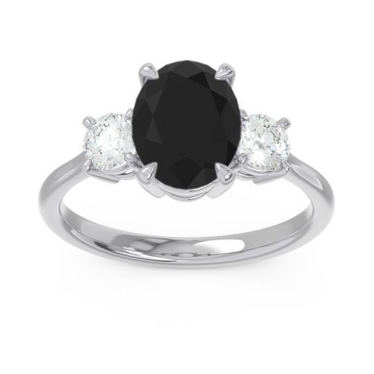 Three Stone Oval Matr Black Onyx Ring with Diamond in 18k White Gold