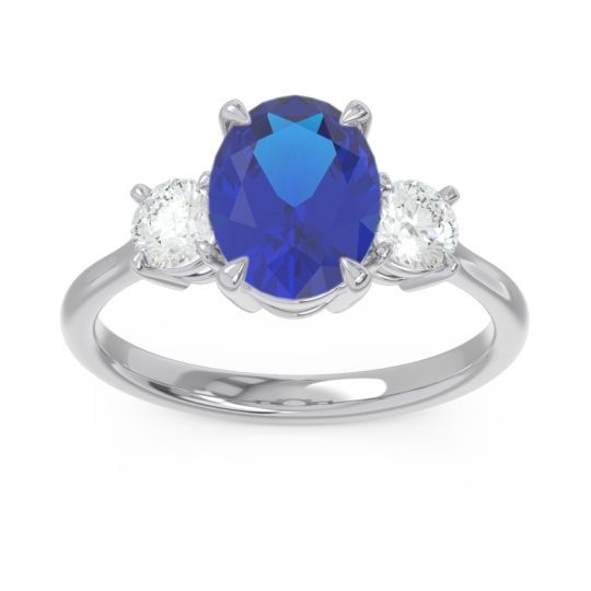 Three Stone Oval Matr Blue Sapphire Ring with Diamond in 18k White Gold