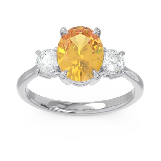 Three Stone Oval Matr Citrine Ring with Diamond in 18k White Gold