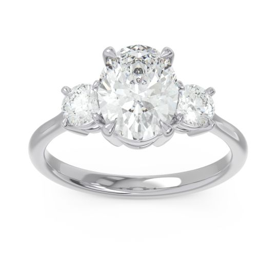 Three Stone Oval Matr Diamond Ring in 18k White Gold