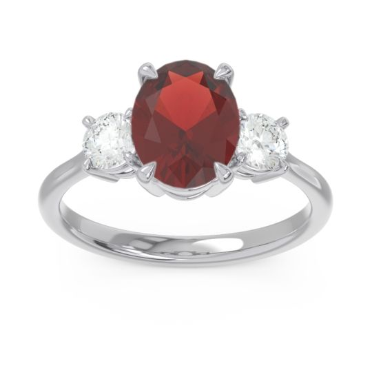 Three Stone Oval Matr Garnet Ring with Diamond in 18k White Gold