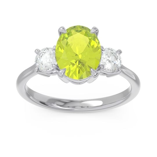 Three Stone Oval Matr Peridot Ring with Diamond in 18k White Gold