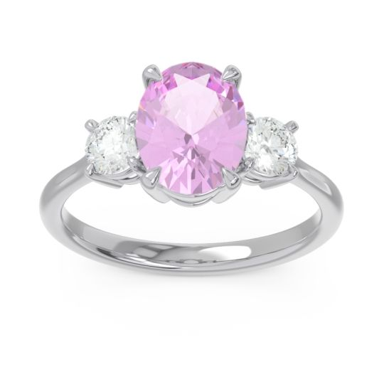 Three Stone Oval Matr Pink Tourmaline Ring with Diamond in 18k White Gold