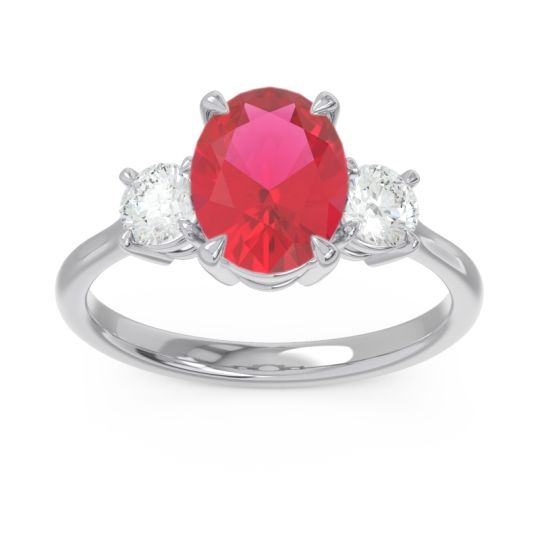 Three Stone Oval Matr Ruby Ring with Diamond in 18k White Gold