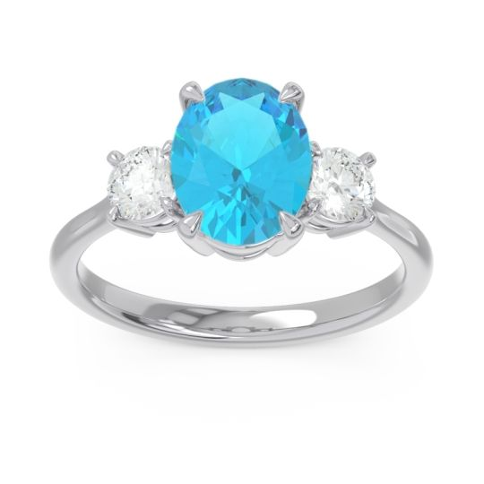 Three Stone Oval Matr Swiss Blue Topaz Ring with Diamond in 18k White Gold