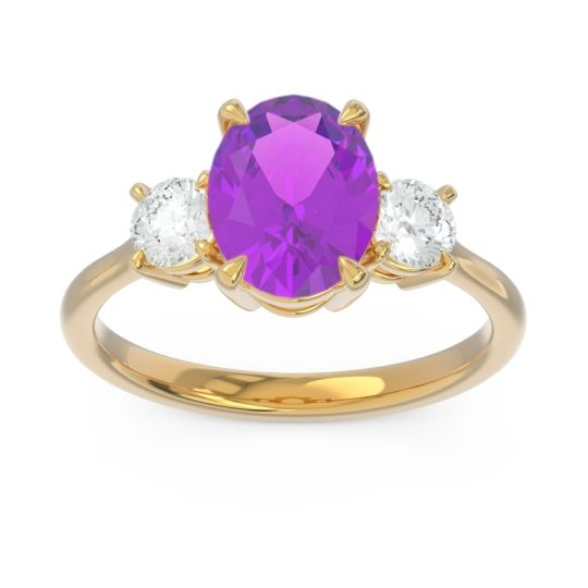 Three Stone Oval Matr Amethyst Ring with Diamond in 14k Yellow Gold